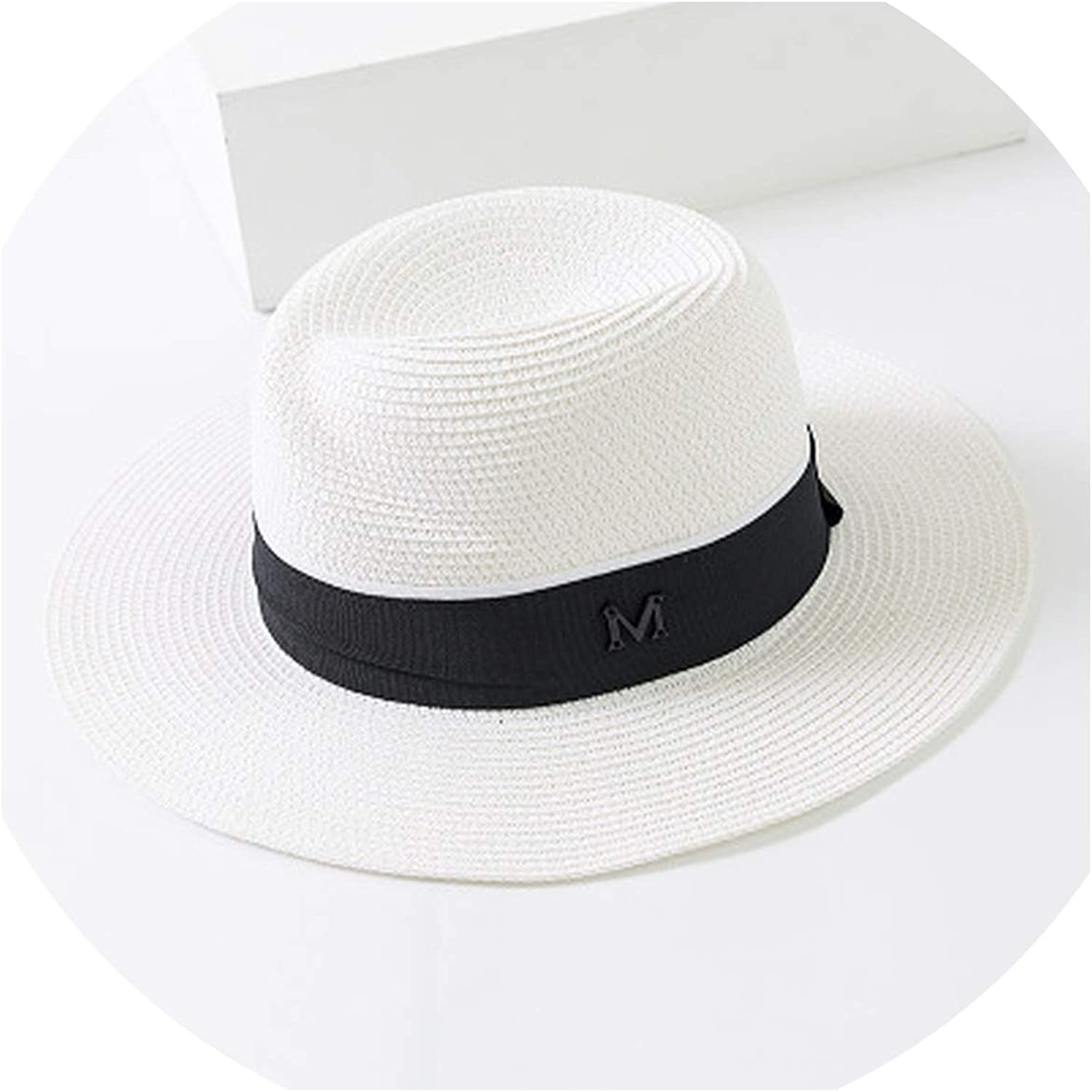 Fashion Panama Hat Large Brim Sun Bonnet Straw Hat Womens Summer Sun Hat with Ribbon Foldable Adjustable