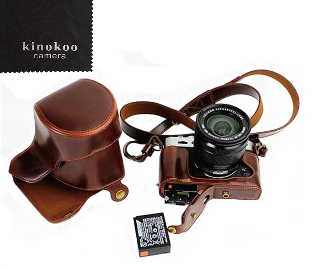kinokooフル保護下部、ボンネット、バージョン、保護PUレザーカメラケースバッグwith Tripodデザイン互換for Fujifilm X – t20 16 – 50 mm & 18 – 55 mmレンズ+ショルダーベルト(コーヒー) B071HXMHD6