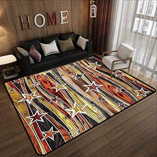 Bath Rugs,Rustic Home Decor,Vertical Striped Vibrating Decorative Timber Design with Various Star Figures,Multi 71
