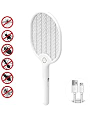 Electric Fly Swatter, 3000 Volt Fly Bug Zapper Racket Mosquito Killer, with USB Rechargeable and Bright LED Light, Unique 3 Layers Safety Mesh Protection for Indoors and Outdoor