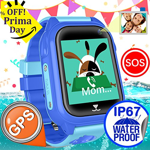 iCooLive Waterproof IP67 Kids Smart Watch Accurate GPS Tracker with FREE SIM CARD for Kid Boys Girls Smartwatch Phone watch Game watch with SOS Call Camera Electronic Learning Toys Birthday Gift by iCooLive