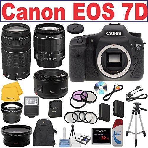 Canon EOS 7D Digital SLR Camera w/ Canon EF 75-300mm f/4-5.6
