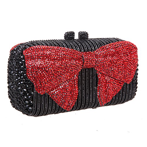 Clutches Purses And Evening Rouge Bags Women Clutch Crystal Bonjanvye Bow For S61PSCx