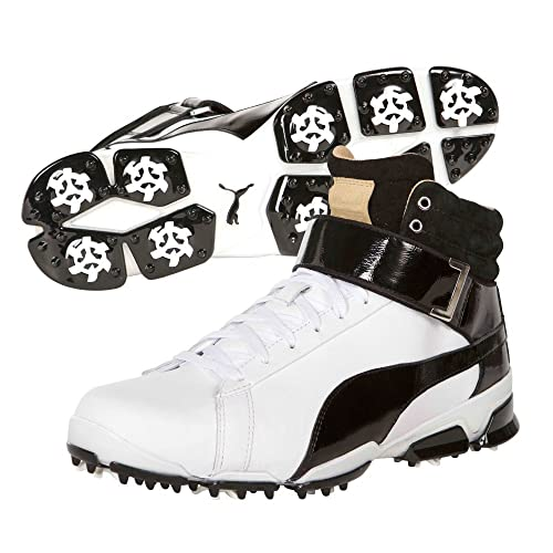 7aa6e2e75fd615 PUMA Men s Titantour Ignite Hi-Top Spiked Golf Shoe-White Black (9.5 ...
