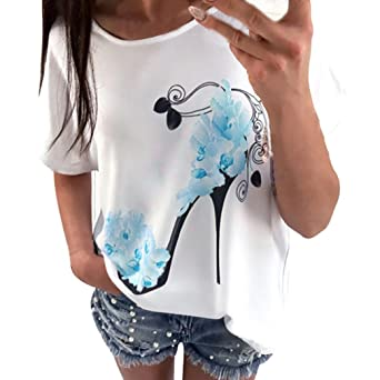 Amazon.com: DondPO Womens Short Sleeve T-Shirt High Heels Print Tops Casual Blouse Summer Clothes: Clothing