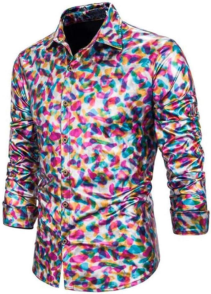 Shirt Mens Fashion Fluorescent Stage Pack Color Design Lapel ...