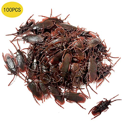 OJYUDD 100PCS Prank Fake Roaches, Favorite Trick Joke Toys Look Real, Scary Insects Realistic Plastic Bugs, Novelty Cockroach for Party, Christmas, Halloween]()