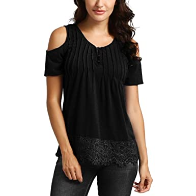 61678cae4bfc88 Image Unavailable. Image not available for. Color  Lelili Women Summer Sexy  Henley Shirt Off Shoulder V ...