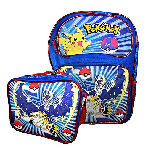 (Blue and Black Pokemon Backpack with Matching Lunch Box Pocket Monster Travel Bag (Combo))