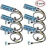LIANSHU 6Pack 6Pin Powered VER006C PCI-E Express Riser Mining Dedicated Graphics Card Extension Cable GPU Graphic Card Crypto Currency Mining with 60cm (23.6in) USB 3.0 Extension Cable (6x V006C)