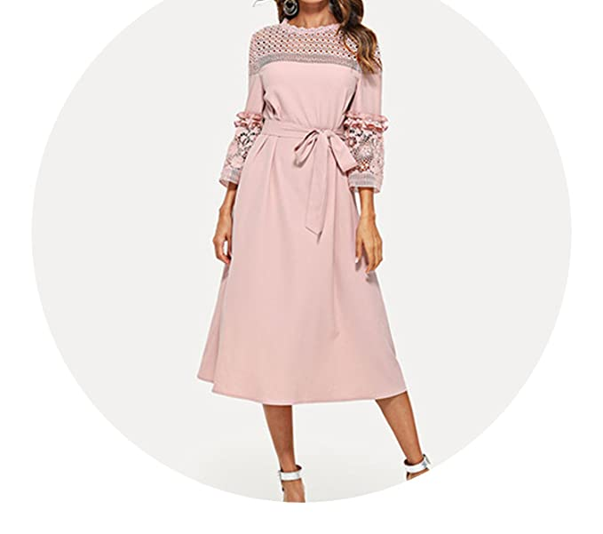 5df5e2625 Lace Yoke and Sleeve Pearl Beading Belted Dress Pink 3/4 Sleeve Ruffle  Straight Tunic