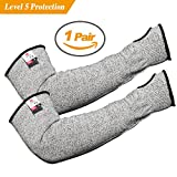 XHSJ Updated Longer Cut Resistant Knit Sleeves Level 5 Protection Slash Resistant Sleeves with Thumb Slot Helps Prevent Scrapes Scratches Skin Irritations UV-Protection 1 Pair