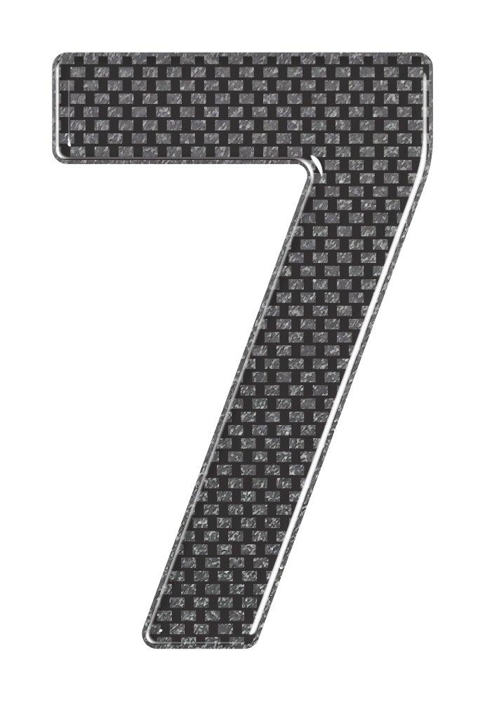 3D Resin Gel Domed Self Adhesive Number Plate Number 7 Carbon