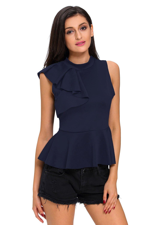 Nuevas señoras azul marino asimétrico volantes falda Top Club wear Tops Casual Wear ropa tamaño s UK...