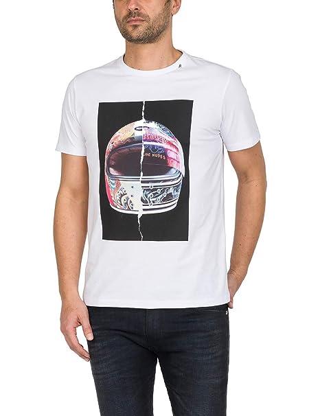 REPLAY Casco Para Moto Imprimir Camiseta Hombres, Blanca: Amazon.es: Ropa y accesorios