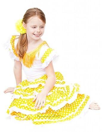 2e54e40d0f781 La Senorita Spanish Flamenco Dress - Girls / Kids - Yellow White - Size 12  - Length 95 cm, 37 inch: Amazon.co.uk: Clothing