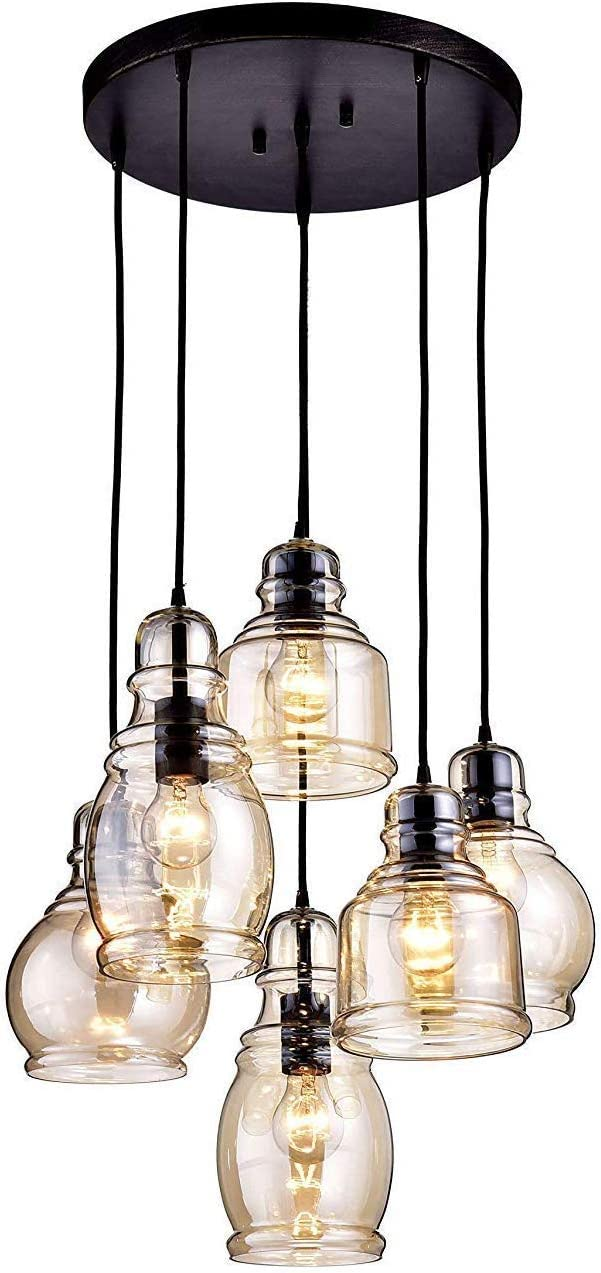 MoreChange Pendant Ceiling Lighting for Kitchen Island Black, Chandelier Hanging Light Fixtures with 6 Amber Glass Lampshades for Dining Room