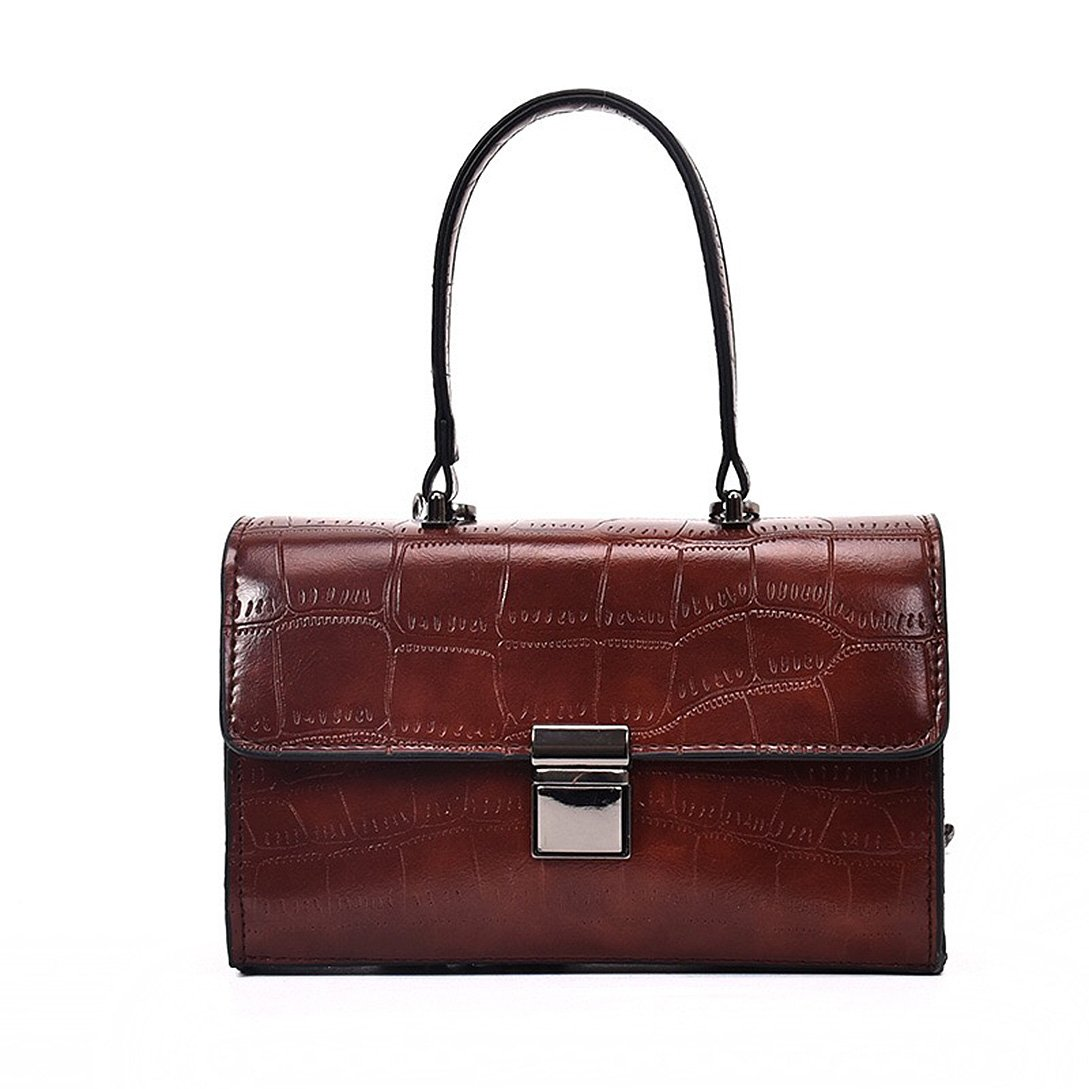 HPASS Women's Vintage Satchel Vegan Leather Alligator Print Shoulder Bag Handbags Crossbody Bag Tote Purse