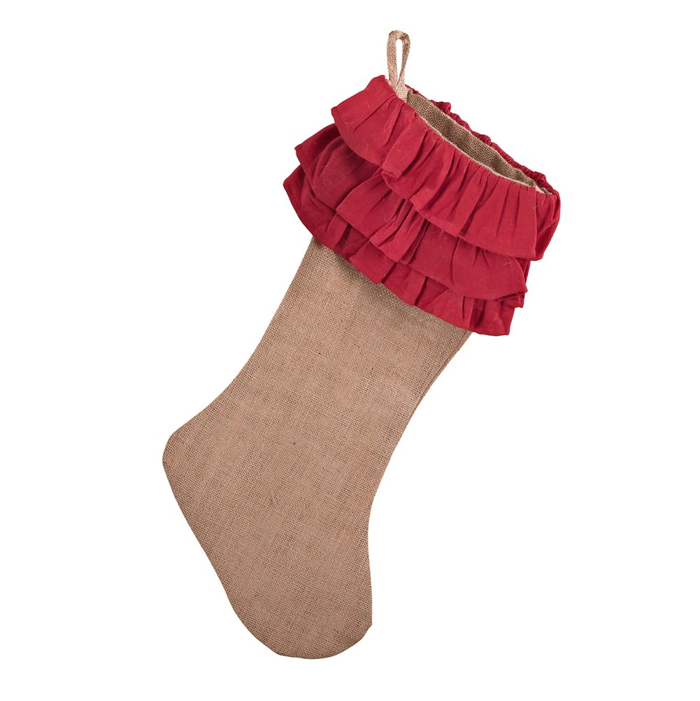 Occasion Gallery Red Ruffle Design Jute Burlap Holiday Christmas Stocking, 13'' X 19'' (1 Piece)