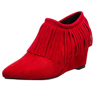 COOLCEPT Damen Fashion Booties Pumps Low Top Shoes mit Fransen: Amazon.de:  Schuhe & Handtaschen