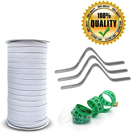 White, 100 Yards + 100 pcs + Nose Bridge Strip with Tape 100 pcs Width: 1//4 inch, Length: 100-Yards, White Elastic Band