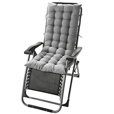 "DN_HOM Awesome Deck Chair Cushion Lounge Tufted Chaise Padding Outdoor Indoor Recliner 49"" x 19"" (Gray) : Garden & Outdoor"