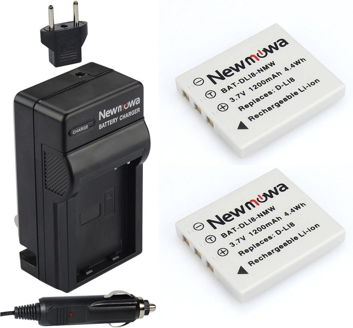 Newmowa D-Li8 Replacement Battery (2-Pack) and Charger Kit for Pentax D-LI8, D-LI85, D-L18 and Pentax Optio A10, A20, A30, A36, A40, L20, S, S4, S4i, S5i, S5n, S5z, S6, S7,Same as Fuji NP-40 Battery