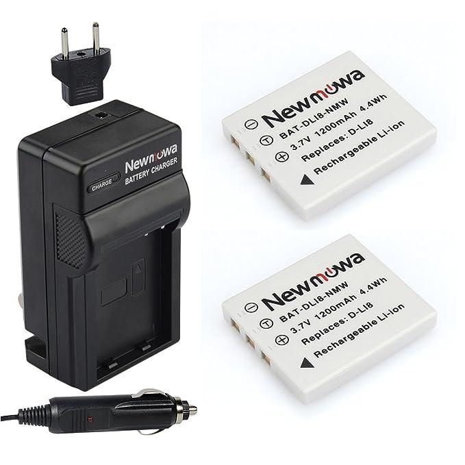 Newmowa D-Li8 Replacement Battery (2-Pack) and Charger kit for Pentax D-LI8, D-LI85, D-L18 and Pentax Optio A10, A20, A30, A36, A40, L20, S, S4, S4i, ...