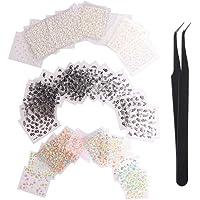 WOKOTO 90Pcs Self-Adhesive 3D Design Nail Art Sticker Tip Colourful White Black Flower Nail Art Decoration Decals With 1 Pcs Anti-Static Tweezers
