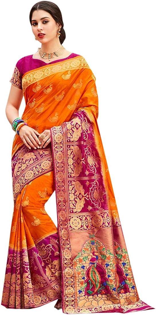 Orange Indian Ethnic Designer Silk Saree for Women Wedding Party wear Sari with Blouse Piece 8054
