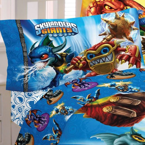 Skylanders Giants Spyro Full Bed Sheet Set - 4pc Sky Friends Adventures Bedding MB361C