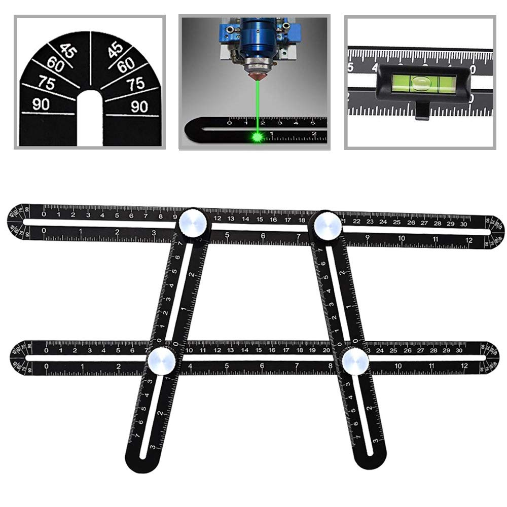 Template Ruler Multi-Angle Measuring Ruler Universal Angler Ruler Upgraded Aluminum Alloy Multi Functional Ruler with Protractors Head and Bubble Level for Builder, Carpenter, Craftsman, Architects, Roofers Dupeakya