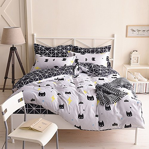 KingKara Black Mask Duvet Cover Set, 3 Pieces including 1 Duvet Cover and 1 Flat Sheet and 1 Pillow Covers (Twin) free shipping