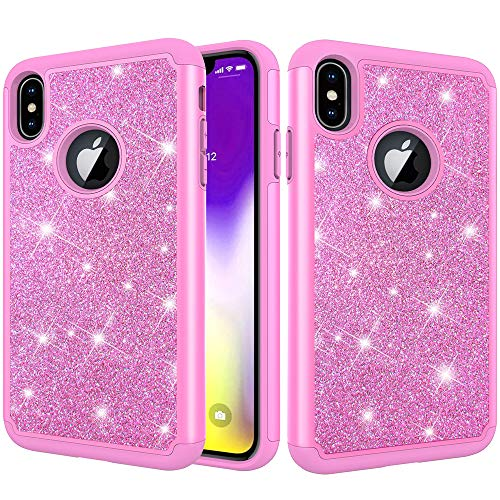 (Folice iPhone Xs Max Case, Hybrid Heavy Duty Protection Shockproof Glitter Sparkly Bling Protective Cover Compatible with Apple iPhone Xs Max (Pink))
