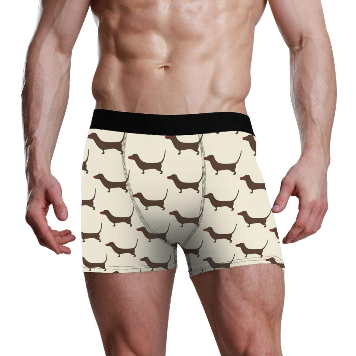 Yiyingzhang Mens Breathable Underwear Christmas Dachshund Pattern Comfortable Boxer Briefs