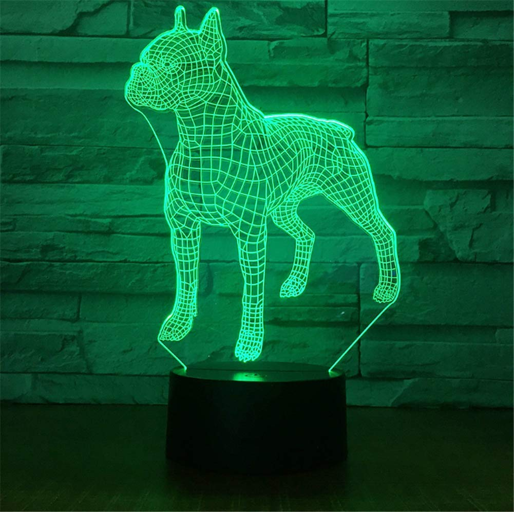 WBYD 3D Lamp LED Night Light Optical Illusion 7 Colour Changing USB Touch Button and Intelligent Remote Control Desk Table Lighting Nice Gift Home Office Decorations Toys(Pit Bull)