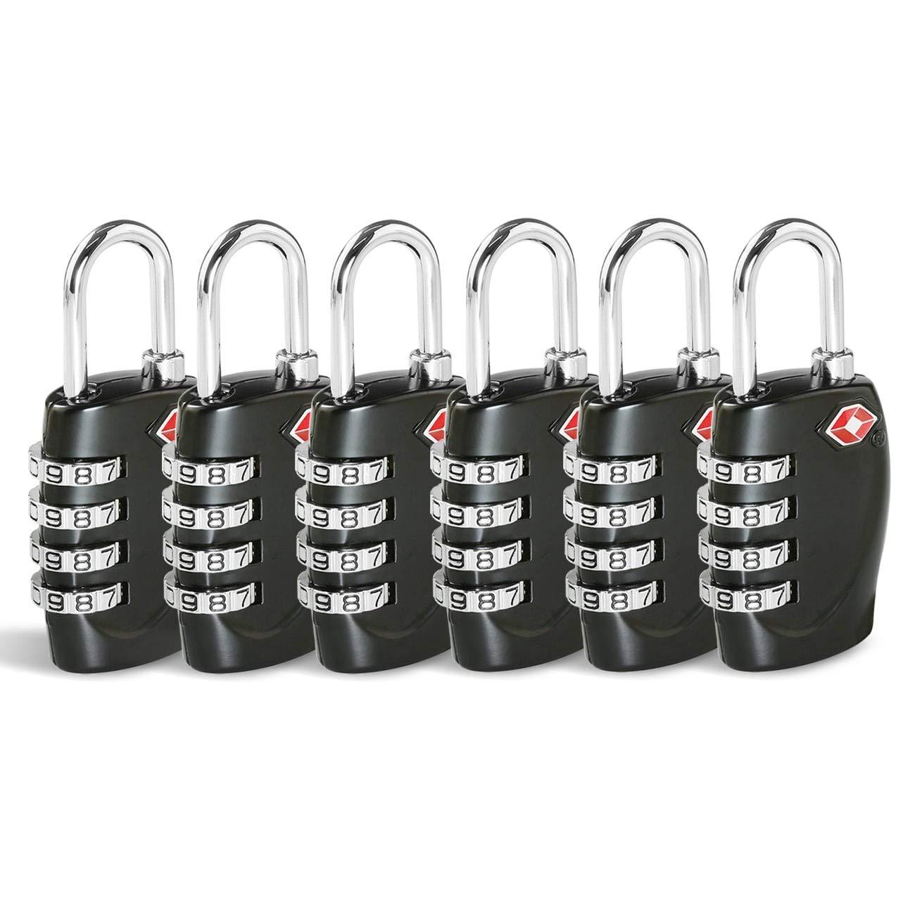 TSA Security Combination Lock Suitcase Luggage Bag Code Lock Padlock Black-2 Pack