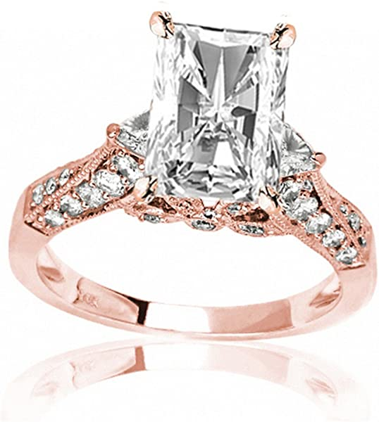 2 8 Ctw 14K Rose Gold GIA Certified Radiant Cut Trillian and Round