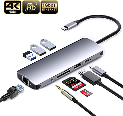 USB Hub 9-in-1 USB C Hub With Ethernet Port 4K HDMI PD Charging Audio 3 USB 3.0 Ports Support SD TF Card Reader Compatible For Flash Drive Laptops And More Hub Adapter Computer Peripherals