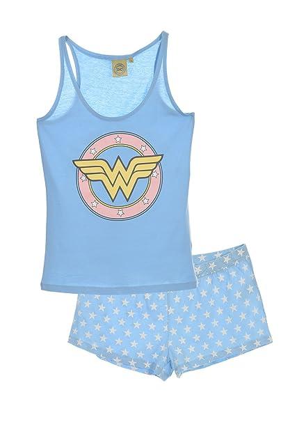 Wonder Woman Pelele para Dormir para Mujer, Azul (LBLUE 006), S