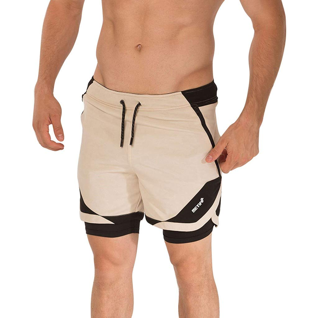 Allywit Men Sport Pants, Casual Loose Fit Sweatpants Short Gyms Workout Jogger Pants Boardshorts Beige
