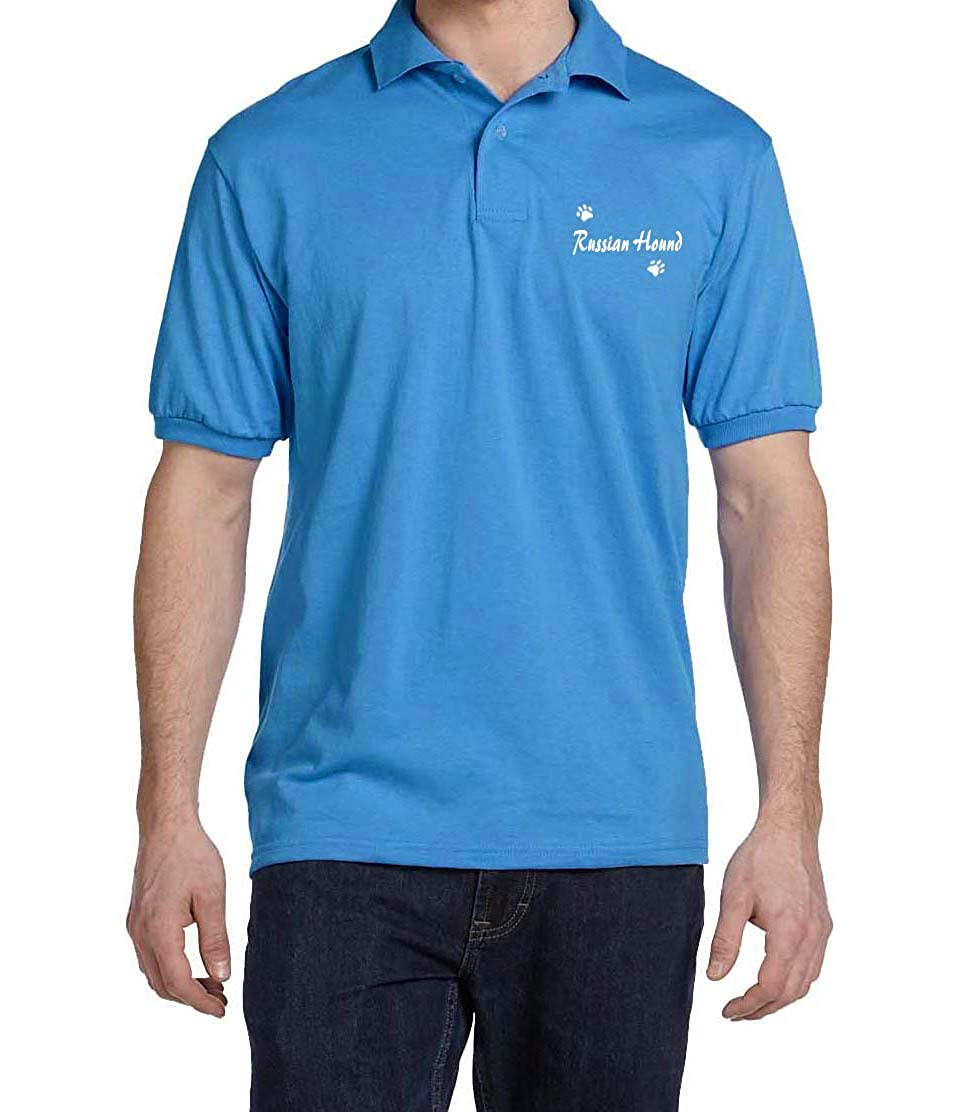 Russian Hound Dog Paw Puppy Name Breed Polo Shirt Clothes Men Women
