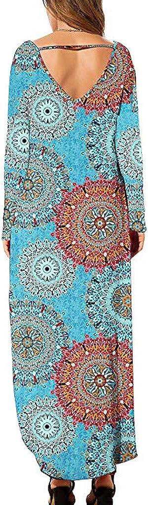 OFEFAN Womens Casual Loose Pocket Long Dress Short Sleeve Split Maxi Dresses