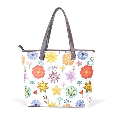 cfb83354e547 Amazon.com: Summer Flowers Tropical Leaves Women Shoulder Bags for ...