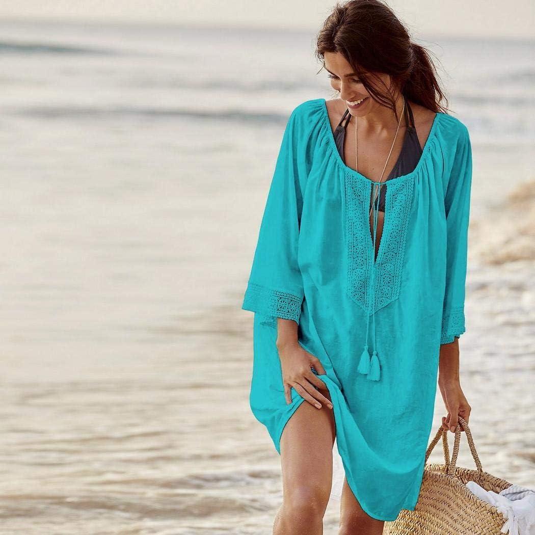 Free Venus Damen Strandkleid Bikini Cover up Strandponcho Sommerkleid Longshirt Tunika Kleider Boho Strandrock Kimono Tops Bluse