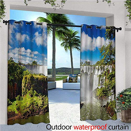 homehot Landscape Exterior/Outside Curtains Majestic Waterfall River Argentinean Falls Natural Wonders Scenery Nature Imagery for Patio Light Block Heat Out Water Proof Drape W108 x L96 ()