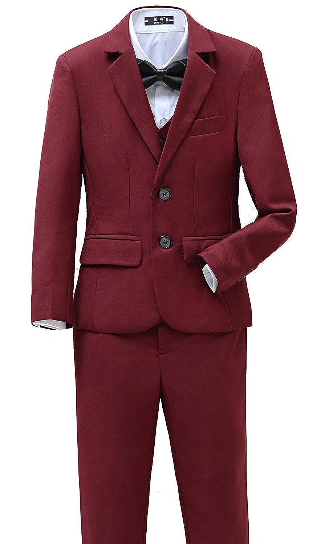 Yanlu Boys Suits Set 5 Piece Size 2T-14 Burgundy Slim Fit Boy Suit YL-Burgundy