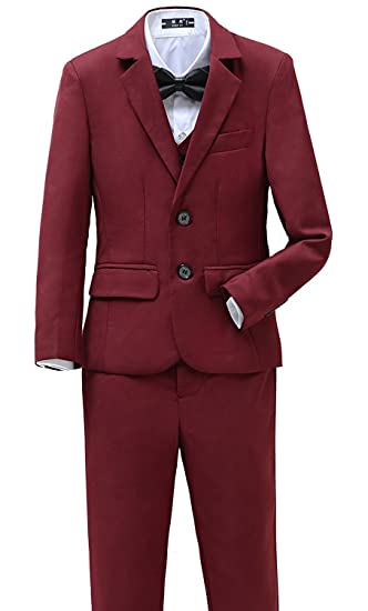 Amazon Com Yanlu Boys Suits Set 5 Piece Size 2t 14 Burgundy Slim