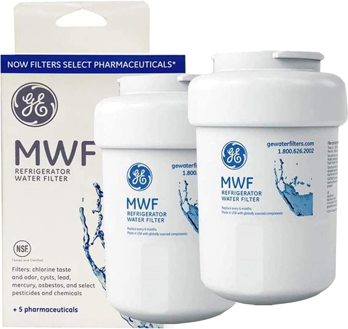 MWF MWFP Water Filter for GE Refrigerator Replacement OEM GE MWF Water Filter Compatible with GE SmartWater MWF, MWFP, MWFINT, MWFA,GWF, GWFA (2 Packs)