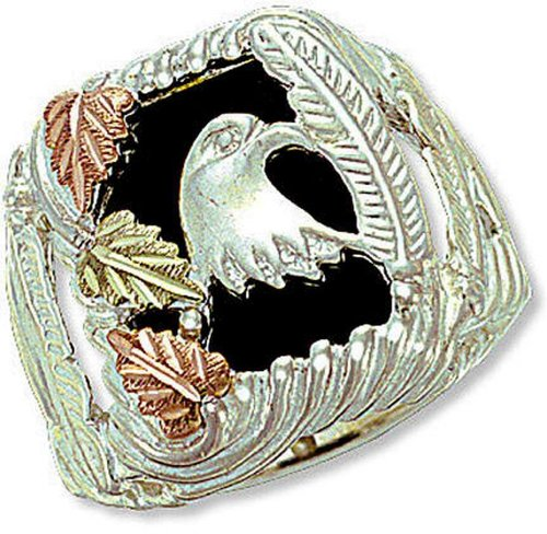Landstroms Sterling Silver Men's Onyx Eagle Ring with 12k Gold Leaves - (Black Onyx Eagle Ring)